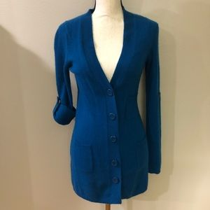 100% Cashmere Cardigan with Roll-up Sleeves